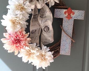 Custom letter T wreath.