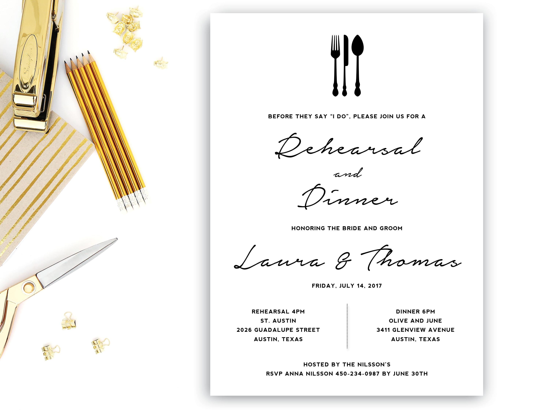 Probe-Dinner-Einladung-Vorlage Hochzeit Generalprobe