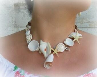 Mermaid jewelry, Seashell necklace, mermaid necklace bridesmaid jewelry, summer jewelry, beach necklace, eco jewelry. Beach wedding necklace
