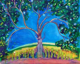 Star Tree Goddess Study 1 - Mythological Goddess Art