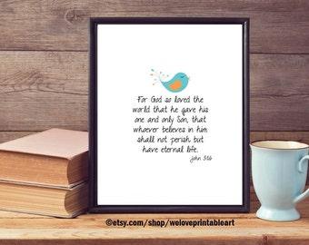 John 3:16 For God So Loved the World, Christian Gift for Her, Bird Bible Verse Sign, Printable Wall Art, INSTANT DOWNLOAD, Christian Easter