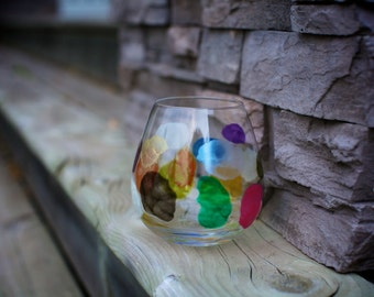"""Hand painted Riedel Wine Glass in design """"Pop The Cork"""""""