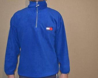 TOMMY HILFIGER sweatshirt vintage blue shirt, 90s hip-hop clothing, 1990s hip hop shirt, Tommy big logo, og, gangsta rap, size XL
