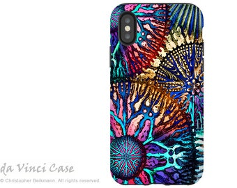Artistic iPhone X Tough Case - Colorful Coral Abstract Art iPhone 10 Case with Dual Layer Protection - Cosmic Star Coral