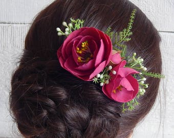 Hot pink wedding flower hair comb Burgundy flower wedding hair piece Bridesmaid floral headpiece Flower accessory Peony flower hair comb