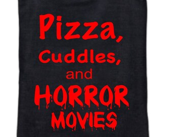 Pizza Cuddles and Horror Movies- reusable grocery bag - horror -halloween - Adult - Tote