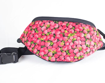 Fanny pack Rasberry fabric - Cute  - Hip Waist Bag - 2 Zippers