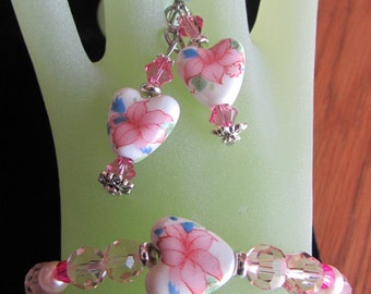 BRACELET EARRING SET czech, Swarovski, pink hearts