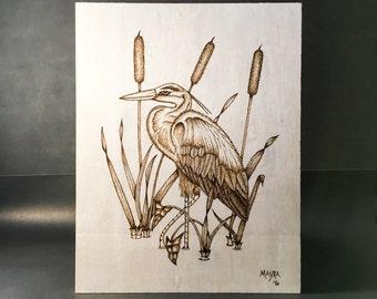 On Sale! Heron Wood Burned Wall Art