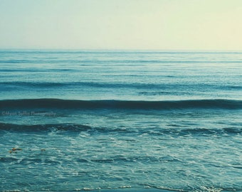 large wall art, beach photography, seascape, mint blue water, ocean wave photograph, calming nursery decor, yoga studio art, coastal, summer