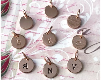 Personalized Initial Charm Only - No Chain - 14k Rose Gold Filled Disc - Tiny Monogram Pendant - Hand Stamped Initial Customized Letter Disc