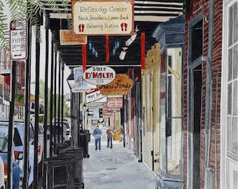 French Quarter Art Print - New Orleans 8 -  Street Scene 8 x 10