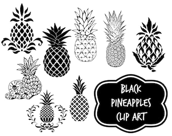Black graphic pineapples - Instant download digital clip art - Pineapples -  pineapple clip art