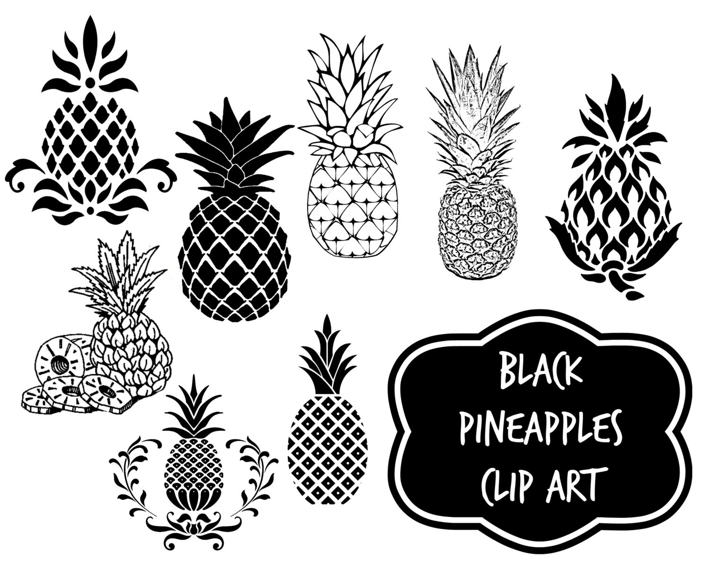 Black graphic pineapples - Instant download digital clip ...