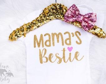 Baby Girls Mama's Bestie Onesie, Mama's Bff, Mothers Day Onesie, Mothers Day Outfit, Mama's Day, Mother's Day Shirt, Mamas Mini Onesie