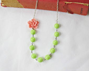 Pink and Green Sakura Necklace - Botanical Jewellery Jewelry For Women Gift - Vintage Asymmetrical Avocado Pastel Floral Cherry Blossom