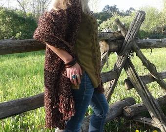 Burgundy and gold shawl