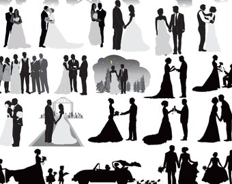 Wedding Party Silhouettes Clip Art , Wedding Silhouettes Clip Art Bride , Bridesmaid , Groomsman , Flowergirl Silhouette Buy 2 Get 1 FREE