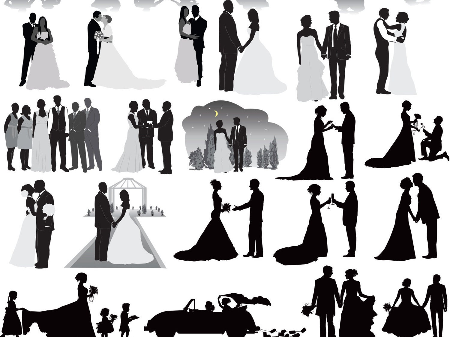 Wedding party silhouettes clip art wedding silhouettes clip zoom junglespirit Gallery