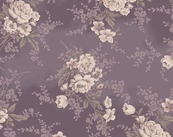 Gentle Flowers Amethyst & Amber, Ecru Floral on Violet, Quilt Gate (By YARD)~