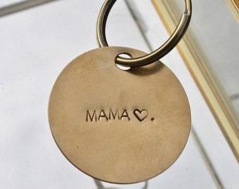 MAMA key chain, hand stamped keychain, mama gift, funny gift.