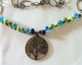 """21"""" Antiqued BRONZE Tone Alloy Celtic Tree Of Life Pendant Necklace~Multi Colored Glass Beads~31"""