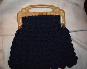 Vintage Navy Blue Crocheted Handbag