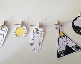 Garland for boys's room- original - perfect for decorating a room - Choumi et Michou indiens