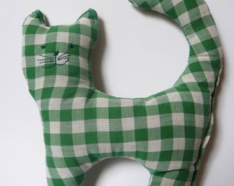 Fabric Cat Green Checkered
