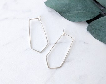 Short Chevron Hoop Earrings • Niobium, Sterling Silver, Gold or Rose Gold Filled • Hypoallergenic • Modern • Minimalist