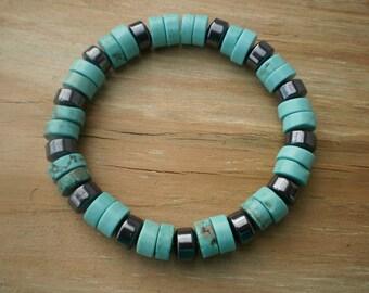 Hematite and Howlite Stretch Bracelet