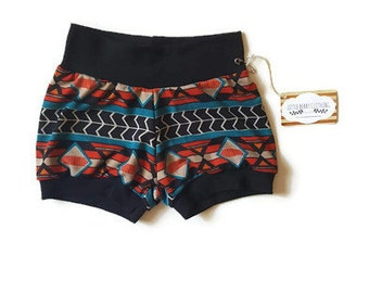 Unisex baby clothes, baby shorts, southwestern  baby clothes, summer baby clothes, trendy baby, yoga waist shorts, gender neutral gift