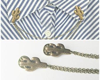 cactus collar pins, collar chain, collar brooch, lapel pin, cactus pin, cactus brooch, cactus jewelry, cactus accessory