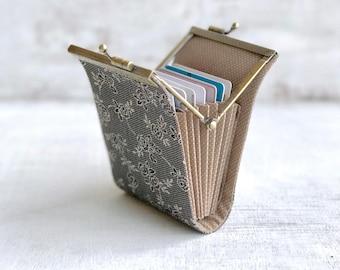 Business Card Holder Wallet, Women Credit Card Case, Fabric Card organizer, Fold Card Case, Metal Frame Purse