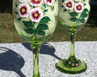 Wine Glasses Hand Painted Red Flowers With Crystal Wine Charms Set of 2-12 oz. Mothers Day Gifts, Wedding Shower Gift, Birthday Gift