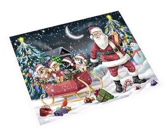 Merry Christmas Happy Holiday Santa Sled Shiba Inu Dog Magnet