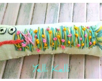 Fishstick Fish Hand Embroidered Pillow Made to Order Custom Colors YelliKelli