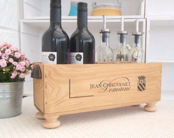 Wooden crate | Wooden wine box | Jean Chauvenet | letter rack | plant holder | wine rack | New home gift | Wine lover | recycled | storage
