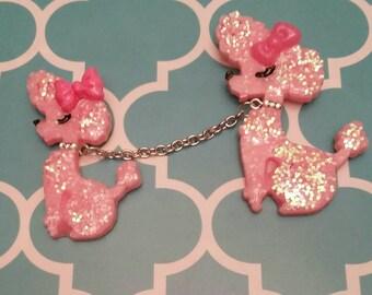 Pink Poodles on a leash brooch set