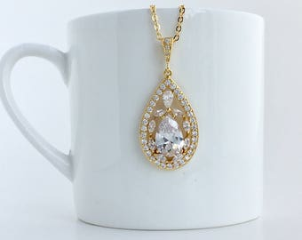 Gold Bridal Necklace Gold Crystal Necklace Gold Wedding Crystal Pendant Gold Teardrop Crystal Necklace Gold Bridesmaid Crystal Necklace