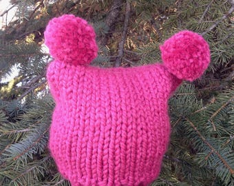 Double Pompom Knit Toque – Pink