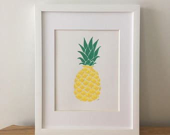 "Original Glitter and Acrylic Pineapple Painting on Paper, Yellow/Green, Gold, 8""x10"""