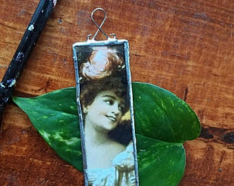 Recycled Altered Art Pendant Adornment Gibson Girl With or Without Silver Chain