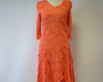 Summer orange linen dress, M size.