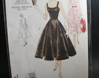 VOGUE V2902 Sewing Pattern ~ New Uncut Size 6-8-10 Fitted Bodice Flared Skirt 1952 Reproduction of Original Vogue Design