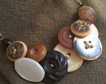 Button Bib Necklace Vintage Brown hues OOAK