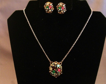 1950s Faux Seed Pearl and Rhinestone Necklace Earrings Set Demi Parure Italy