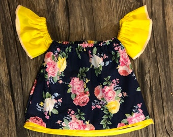 Navy floral OTS top