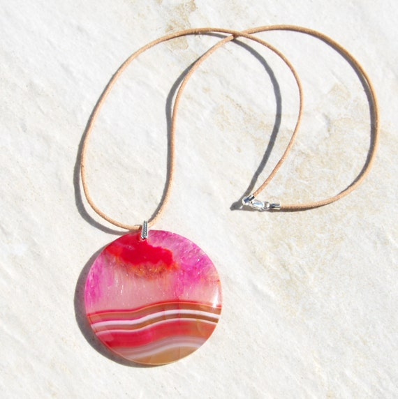Druzy agate pendant necklace sterling leather necklace like this item aloadofball Choice Image