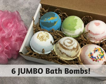 6 JUMBO Bath Bombs, Lush Bath Fizzies, Bath and Beauty Gift, Spa Gift Set For Her, Colorful Bath Bomb, Christmas Gift